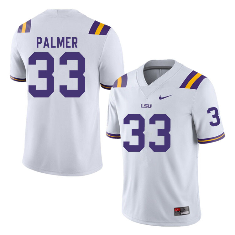 Men #33 Trey Palmer LSU Tigers College Football Jerseys Sale-White